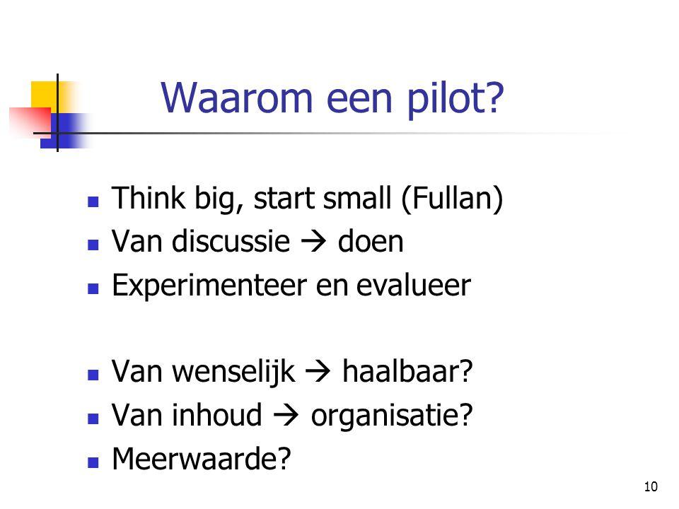 10 Waarom een pilot? Think big, start small (Fullan) Van discussie  doen Experimenteer en evalueer Van wenselijk  haalbaar? Van inhoud  organisatie