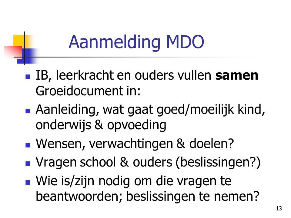 Aanmelding MDO IB, leerkracht en ouders vullen samen Groeidocument in: Aanleiding, wat gaat goed/moeilijk kind, onderwijs & opvoeding Wensen, verwacht