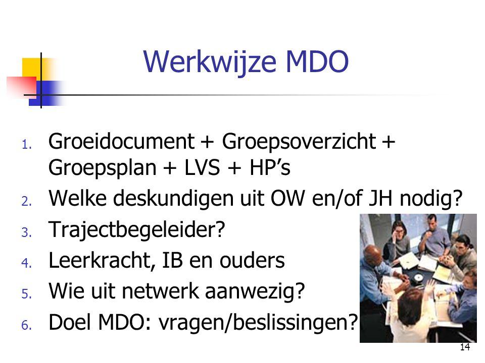 14 Werkwijze MDO 1. Groeidocument + Groepsoverzicht + Groepsplan + LVS + HP's 2. Welke deskundigen uit OW en/of JH nodig? 3. Trajectbegeleider? 4. Lee
