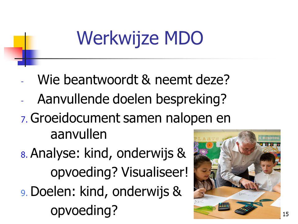 15 Werkwijze MDO - Wie beantwoordt & neemt deze? - Aanvullende doelen bespreking? 7. Groeidocument samen nalopen en aanvullen 8. Analyse: kind, onderw