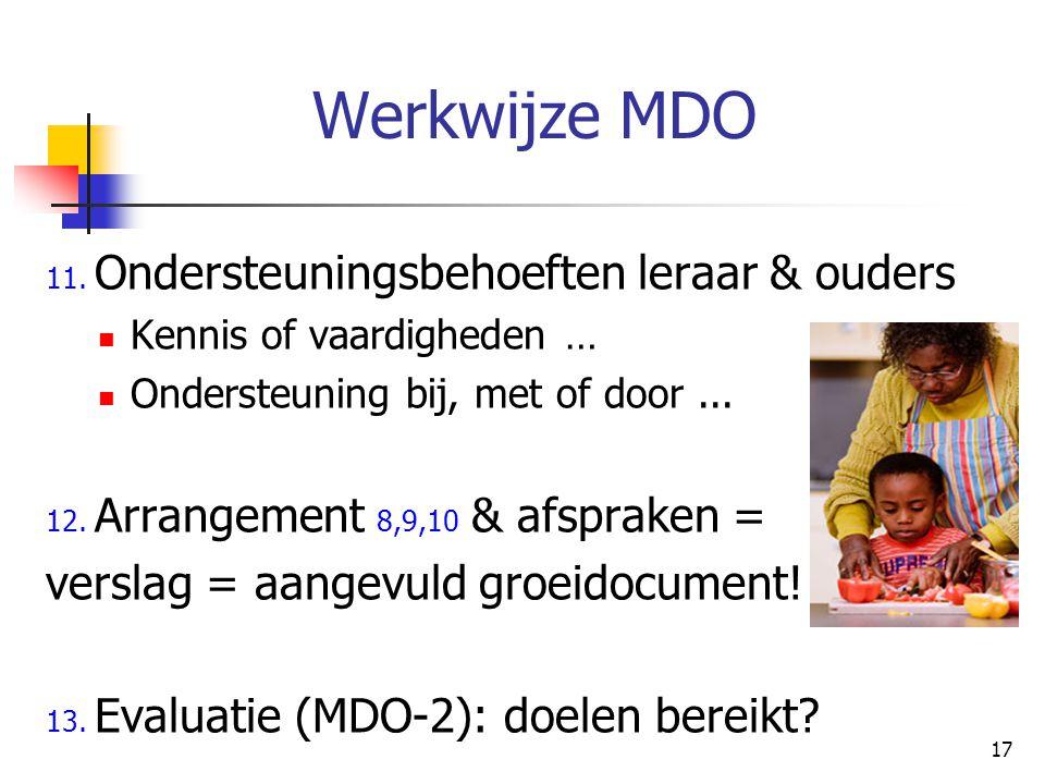 17 Werkwijze MDO 11. Ondersteuningsbehoeften leraar & ouders Kennis of vaardigheden … Ondersteuning bij, met of door... 12. Arrangement 8,9,10 & afspr