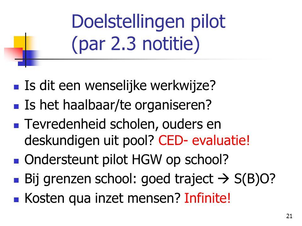 21 Doelstellingen pilot (par 2.3 notitie) Is dit een wenselijke werkwijze? Is het haalbaar/te organiseren? Tevredenheid scholen, ouders en deskundigen