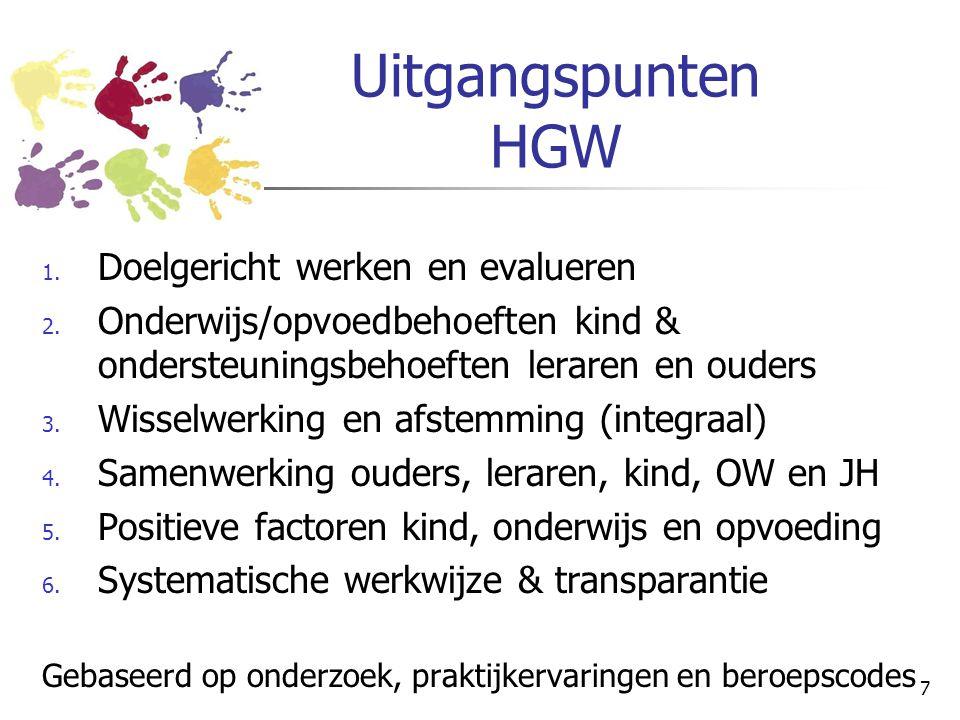 7 Uitgangspunten HGW 1. Doelgericht werken en evalueren 2. Onderwijs/opvoedbehoeften kind & ondersteuningsbehoeften leraren en ouders 3. Wisselwerking
