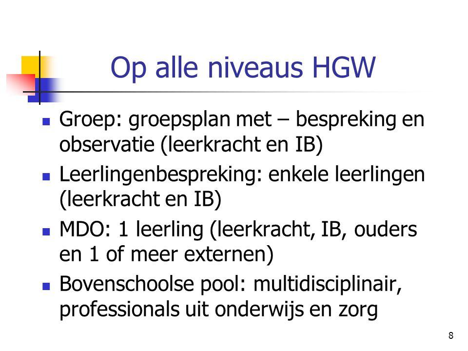 8 Op alle niveaus HGW Groep: groepsplan met – bespreking en observatie (leerkracht en IB) Leerlingenbespreking: enkele leerlingen (leerkracht en IB) M