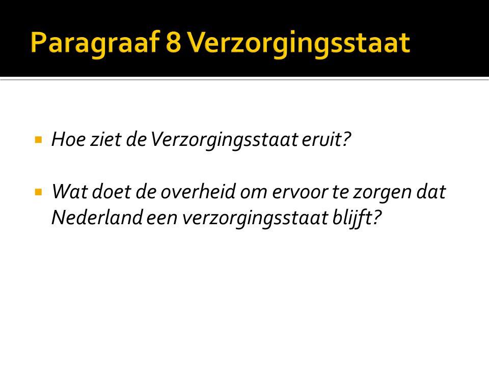  Hoe ziet de Verzorgingsstaat eruit?  Wat doet de overheid om ervoor te zorgen dat Nederland een verzorgingsstaat blijft?