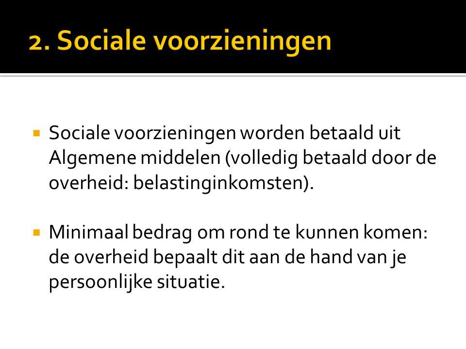  Sociale voorzieningen worden betaald uit Algemene middelen (volledig betaald door de overheid: belastinginkomsten).  Minimaal bedrag om rond te kun