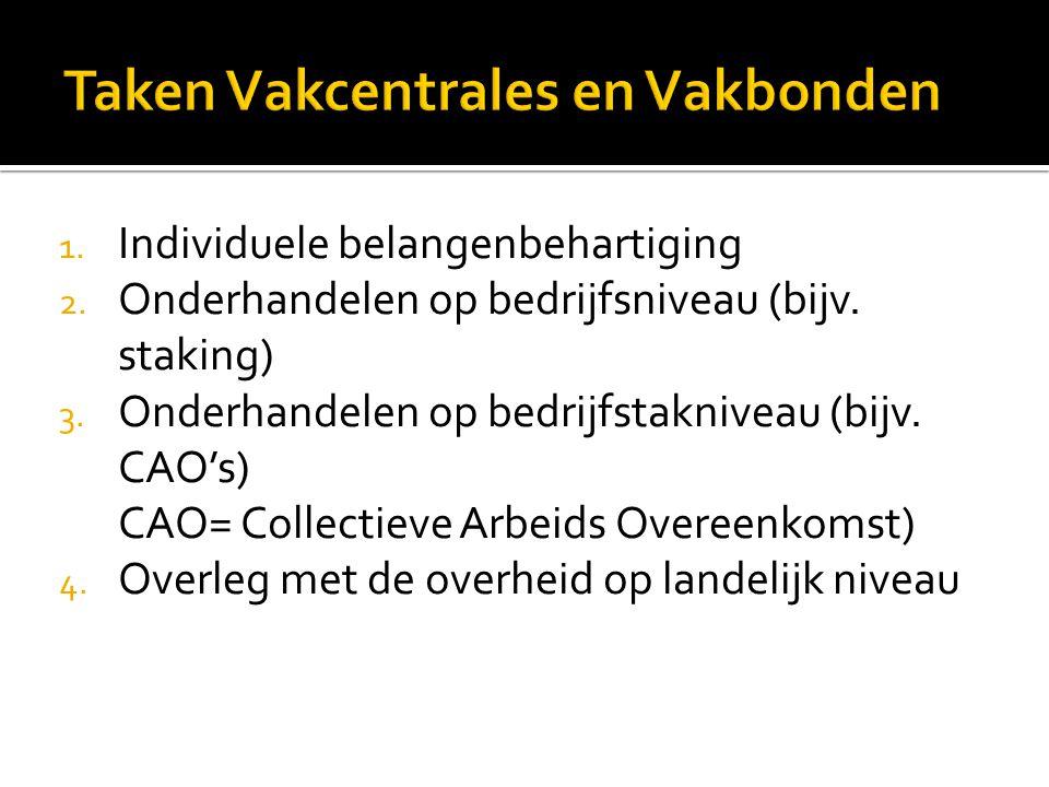1. Individuele belangenbehartiging 2. Onderhandelen op bedrijfsniveau (bijv. staking) 3. Onderhandelen op bedrijfstakniveau (bijv. CAO's) CAO= Collect