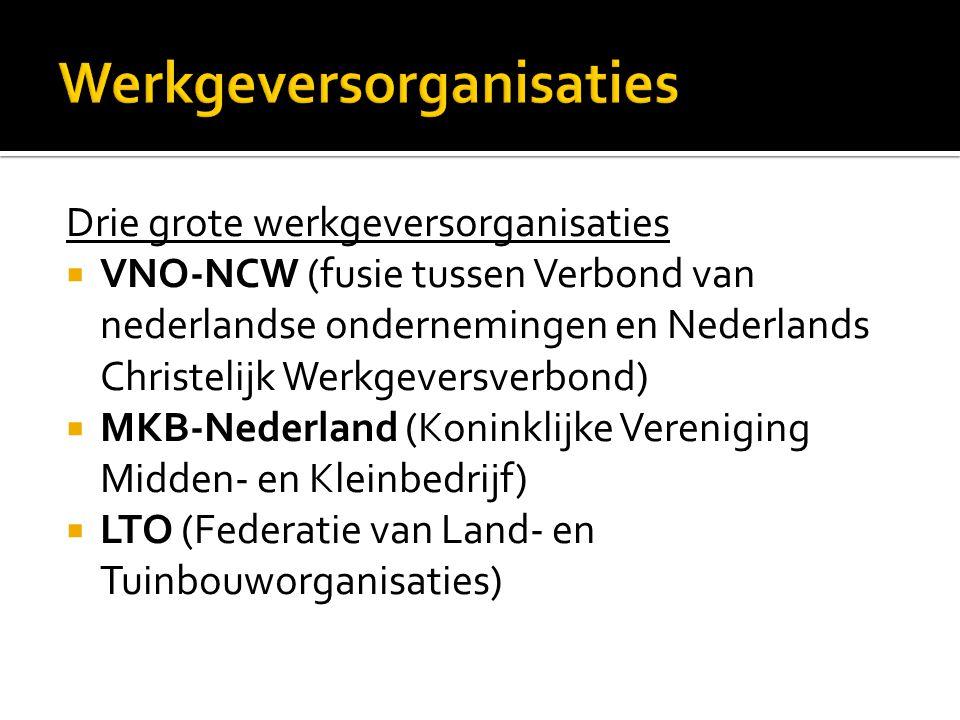 Drie grote werkgeversorganisaties  VNO-NCW (fusie tussen Verbond van nederlandse ondernemingen en Nederlands Christelijk Werkgeversverbond)  MKB-Ned