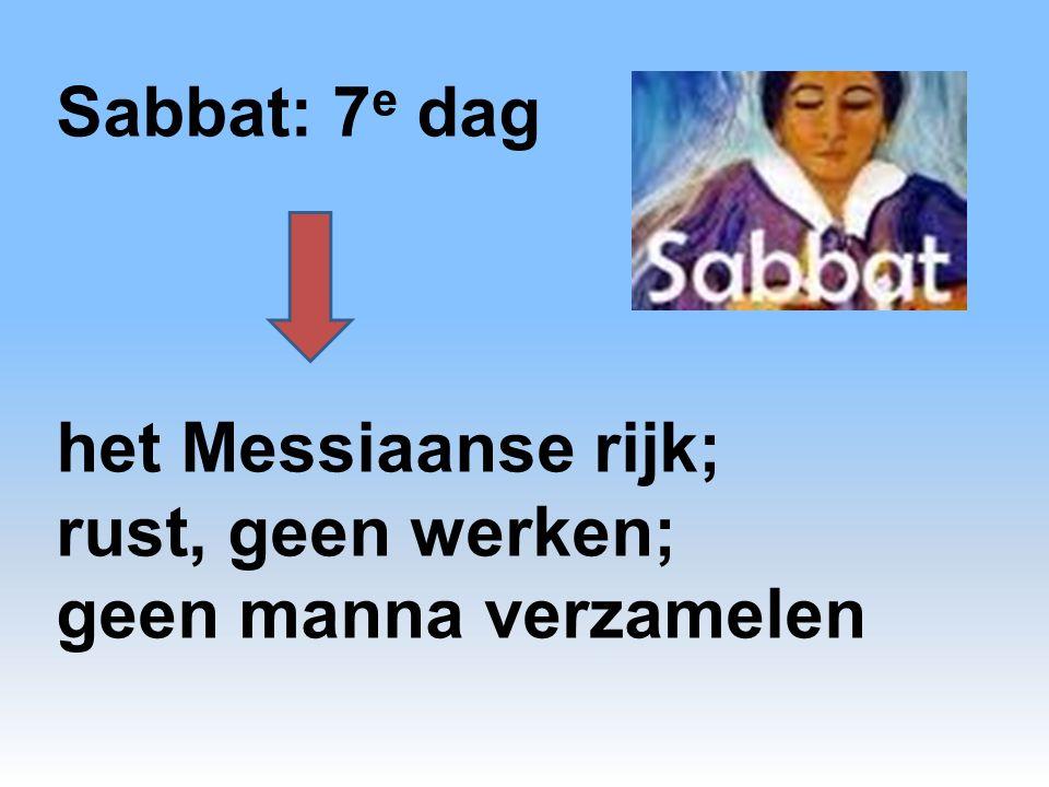 Sabbat: 7 e dag het Messiaanse rijk; rust, geen werken; geen manna verzamelen