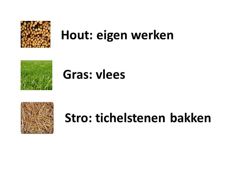 Stro: tichelstenen bakken Gras: vlees Hout: eigen werken