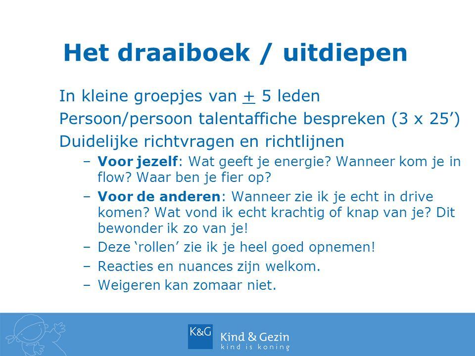 Het draaiboek / uitdiepen In kleine groepjes van + 5 leden Persoon/persoon talentaffiche bespreken (3 x 25') Duidelijke richtvragen en richtlijnen –Voor jezelf: Wat geeft je energie.
