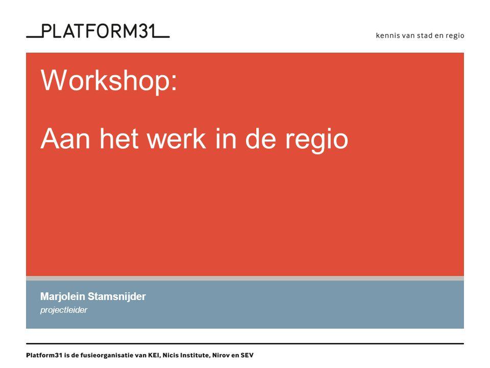 Workshop: Aan het werk in de regio Marjolein Stamsnijder projectleider