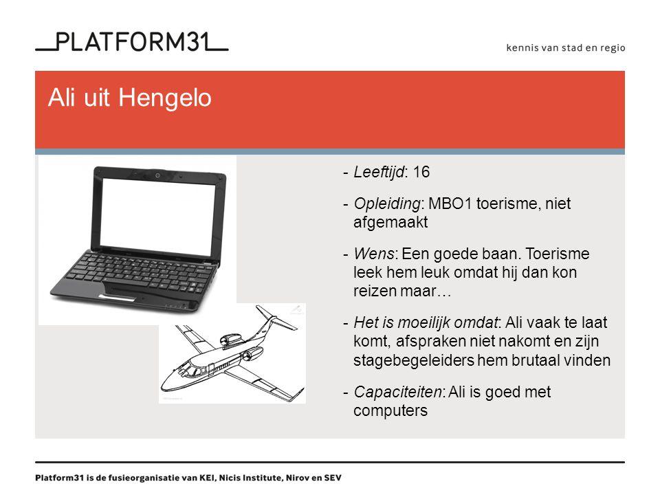 Ali uit Hengelo -Leeftijd: 16 -Opleiding: MBO1 toerisme, niet afgemaakt -Wens: Een goede baan.