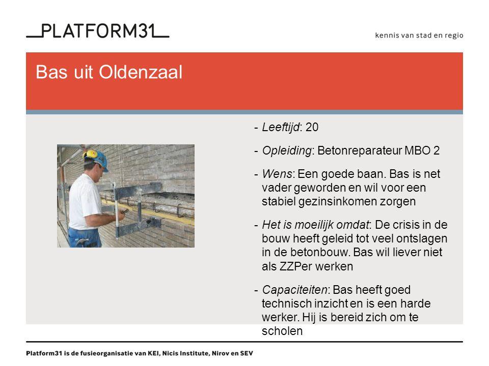 Bas uit Oldenzaal -Leeftijd: 20 -Opleiding: Betonreparateur MBO 2 -Wens: Een goede baan.