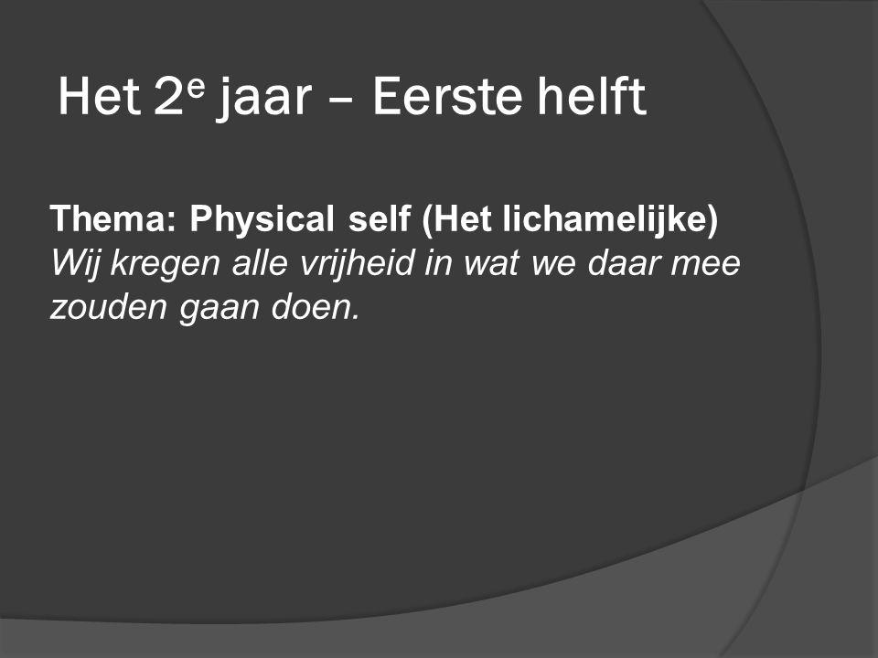 Het 2 e jaar – Eerste helft Thema: Physical self (Het lichamelijke) Wij kregen alle vrijheid in wat we daar mee zouden gaan doen.