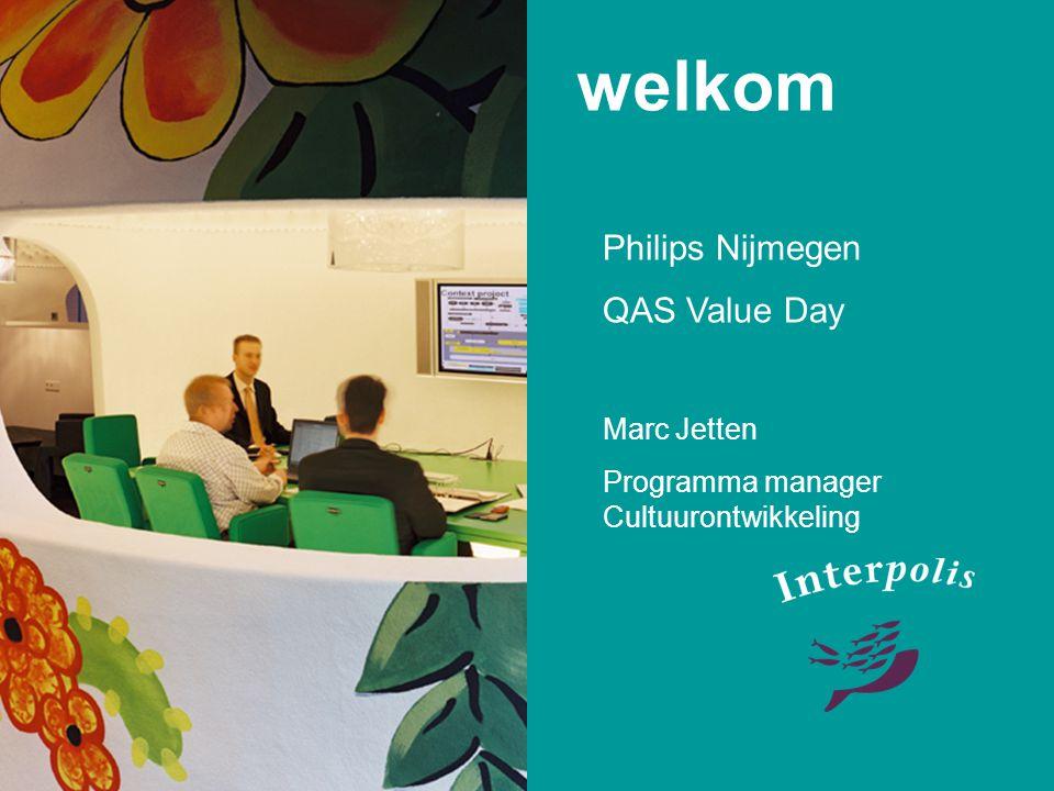 welkom Philips Nijmegen QAS Value Day Marc Jetten Programma manager Cultuurontwikkeling