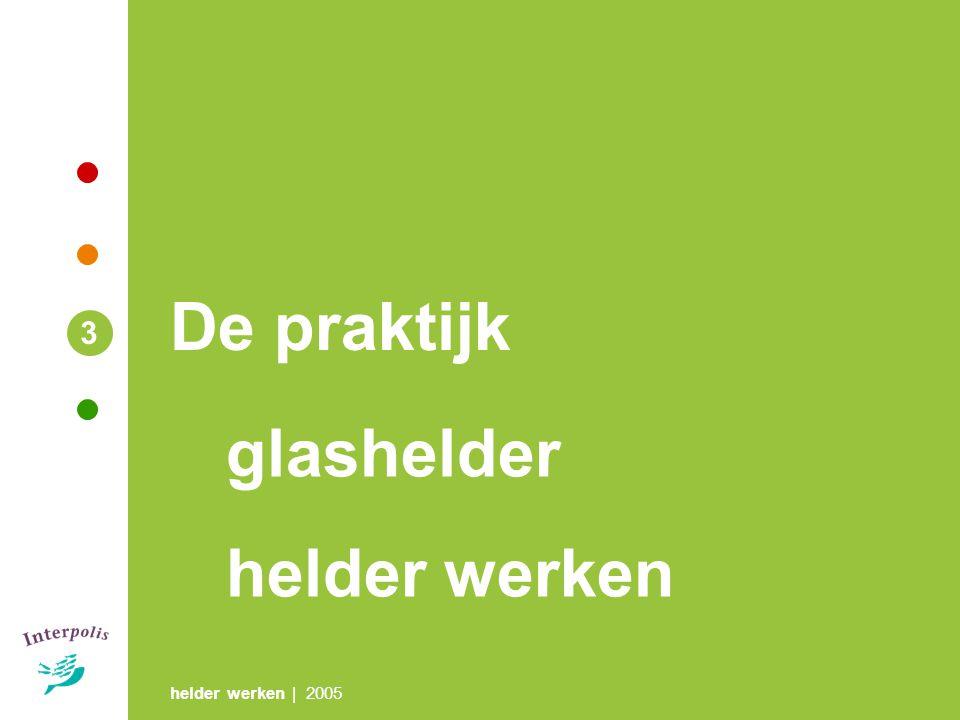 helder werken | 2005 3 De praktijk glashelder helder werken