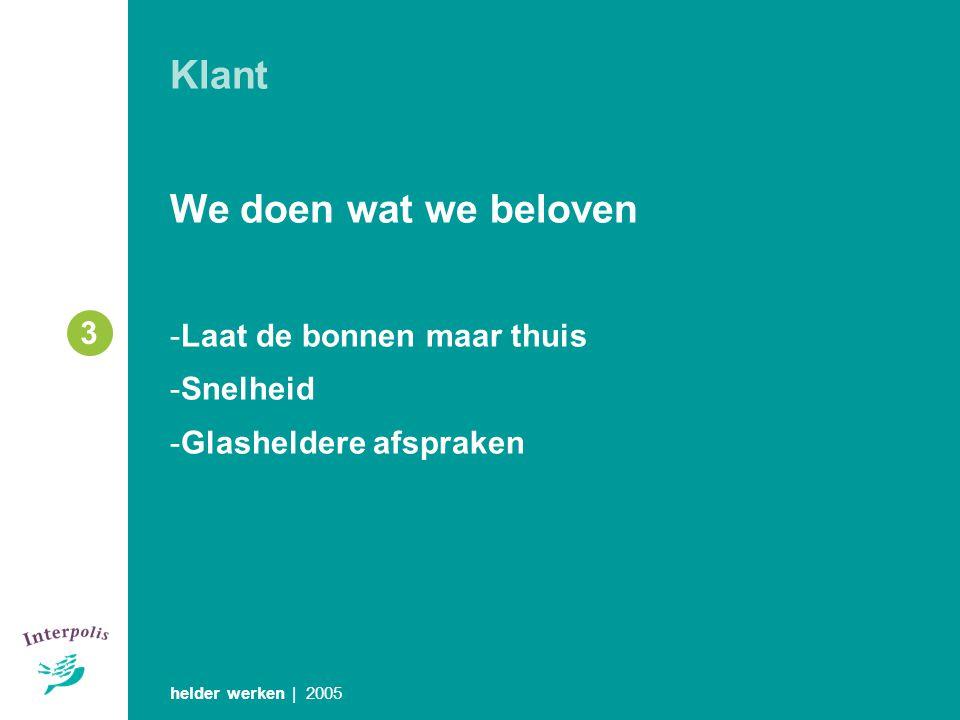 Klant We doen wat we beloven -Laat de bonnen maar thuis -Snelheid -Glasheldere afspraken helder werken | 2005 3
