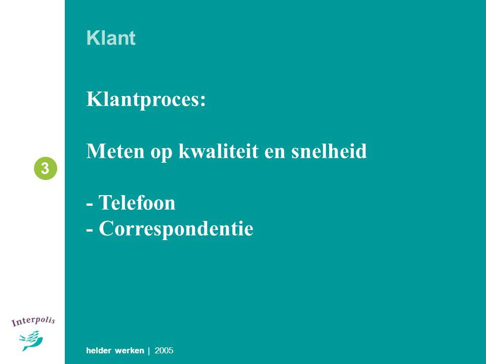 Klant Klantproces: Meten op kwaliteit en snelheid - Telefoon - Correspondentie helder werken | 2005 3