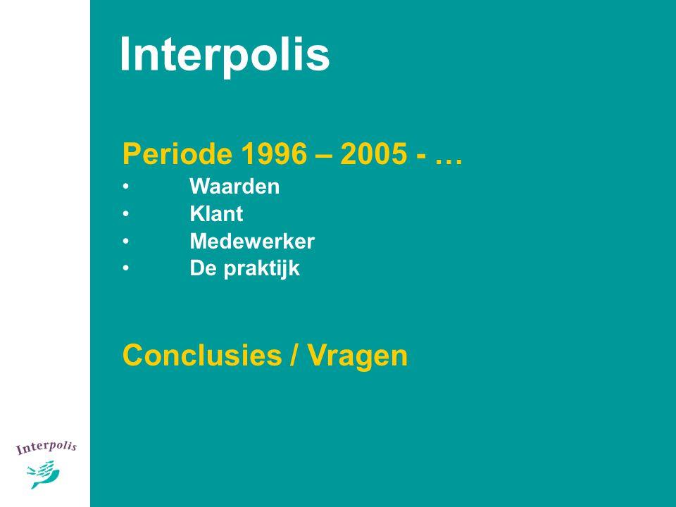 3 Periode 1996 – 2005 - … Waarden Klant Medewerker De praktijk Conclusies / Vragen Interpolis