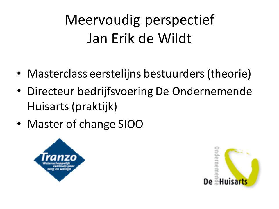 Meervoudig perspectief Jan Erik de Wildt Masterclass eerstelijns bestuurders (theorie) Directeur bedrijfsvoering De Ondernemende Huisarts (praktijk) M