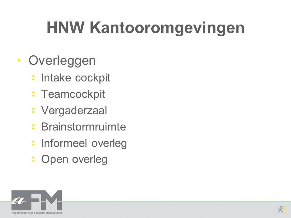 HNW Kantooromgevingen Overleggen Intake cockpit Teamcockpit Vergaderzaal Brainstormruimte Informeel overleg Open overleg