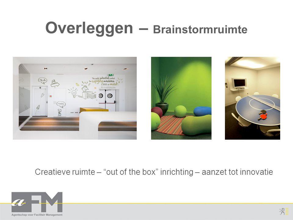 """Overleggen – Brainstormruimte Creatieve ruimte – """"out of the box"""" inrichting – aanzet tot innovatie"""