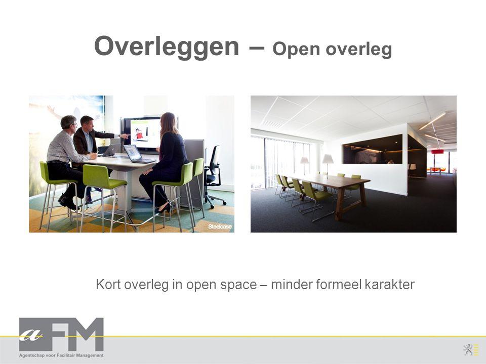 Overleggen – Open overleg Kort overleg in open space – minder formeel karakter