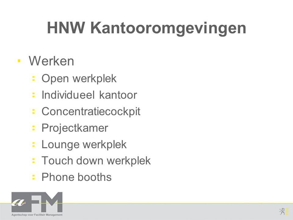 HNW Kantooromgevingen Werken Open werkplek Individueel kantoor Concentratiecockpit Projectkamer Lounge werkplek Touch down werkplek Phone booths