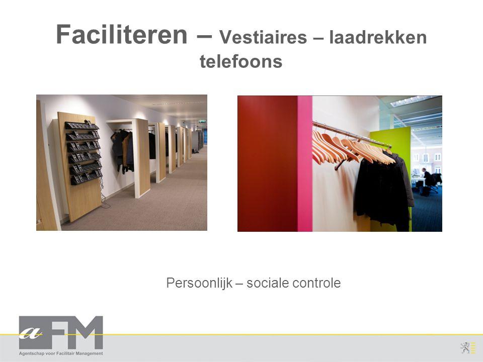 Faciliteren – Vestiaires – laadrekken telefoons Persoonlijk – sociale controle
