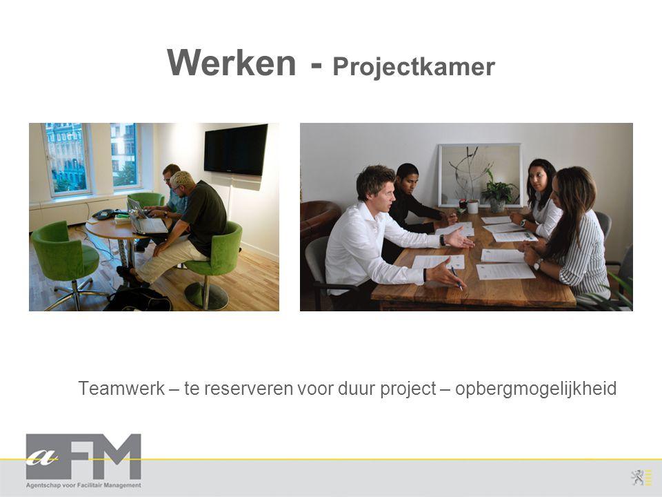 Werken - Projectkamer Teamwerk – te reserveren voor duur project – opbergmogelijkheid