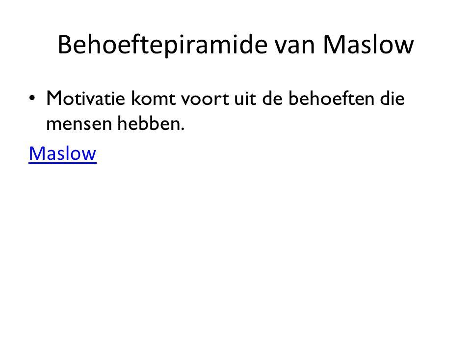 Behoeftepiramide van Maslow Motivatie komt voort uit de behoeften die mensen hebben. Maslow