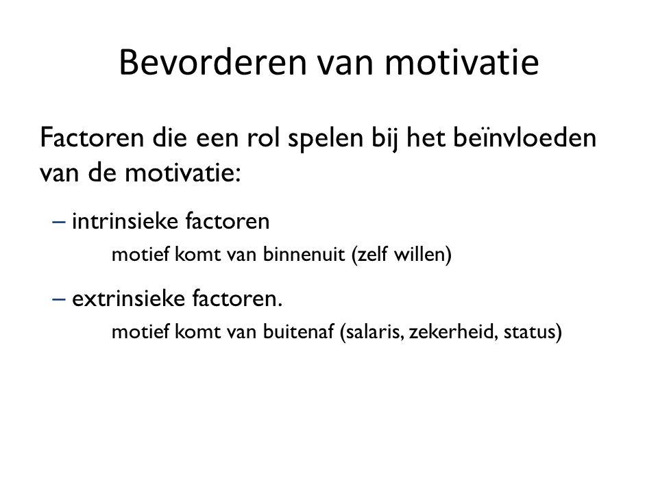 Bevorderen van motivatie Factoren die een rol spelen bij het beïnvloeden van de motivatie: –intrinsieke factoren motief komt van binnenuit (zelf wille