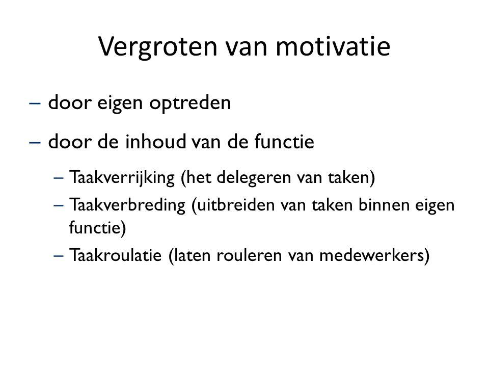 Vergroten van motivatie –door eigen optreden –door de inhoud van de functie –Taakverrijking (het delegeren van taken) –Taakverbreding (uitbreiden van