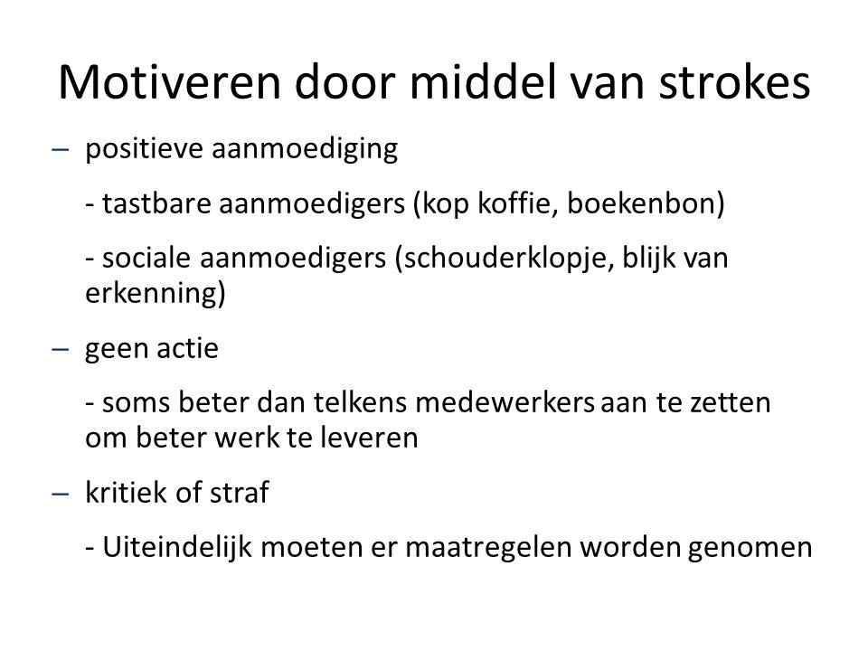 Motiveren door middel van strokes – positieve aanmoediging - tastbare aanmoedigers (kop koffie, boekenbon) - sociale aanmoedigers (schouderklopje, bli