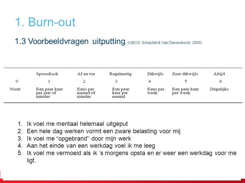1.3 Voorbeeldvragen uitputting (UBOS; Schaufeli & Van Dierendonck, 2000) 1.