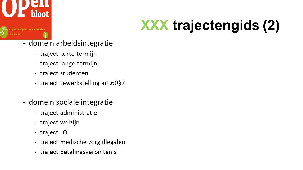 XXX trajectengids (2) -domein arbeidsintegratie -traject korte termijn -traject lange termijn -traject studenten -traject tewerkstelling art.60§7 -domein sociale integratie -traject administratie -traject welzijn -traject LOI -traject medische zorg illegalen -traject betalingsverbintenis