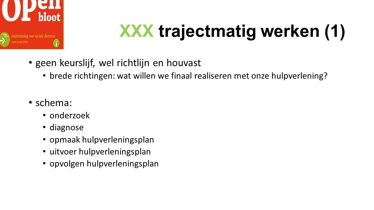 XXX trajectmatig werken (1) geen keurslijf, wel richtlijn en houvast brede richtingen: wat willen we finaal realiseren met onze hulpverlening.