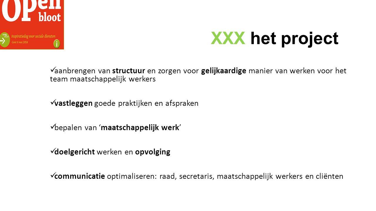 XXX het project aanbrengen van structuur en zorgen voor gelijkaardige manier van werken voor het team maatschappelijk werkers vastleggen goede praktijken en afspraken bepalen van 'maatschappelijk werk' doelgericht werken en opvolging communicatie optimaliseren: raad, secretaris, maatschappelijk werkers en cliënten