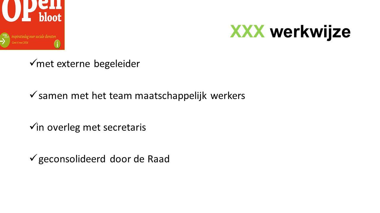 XXX werkwijze met externe begeleider samen met het team maatschappelijk werkers in overleg met secretaris geconsolideerd door de Raad