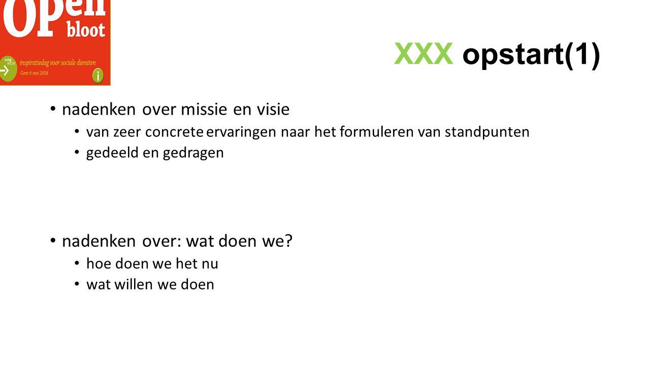 XXX opstart(1) nadenken over missie en visie van zeer concrete ervaringen naar het formuleren van standpunten gedeeld en gedragen nadenken over: wat doen we.