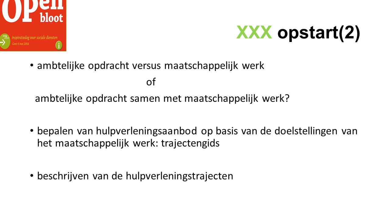 XXX opstart(2) ambtelijke opdracht versus maatschappelijk werk of ambtelijke opdracht samen met maatschappelijk werk.