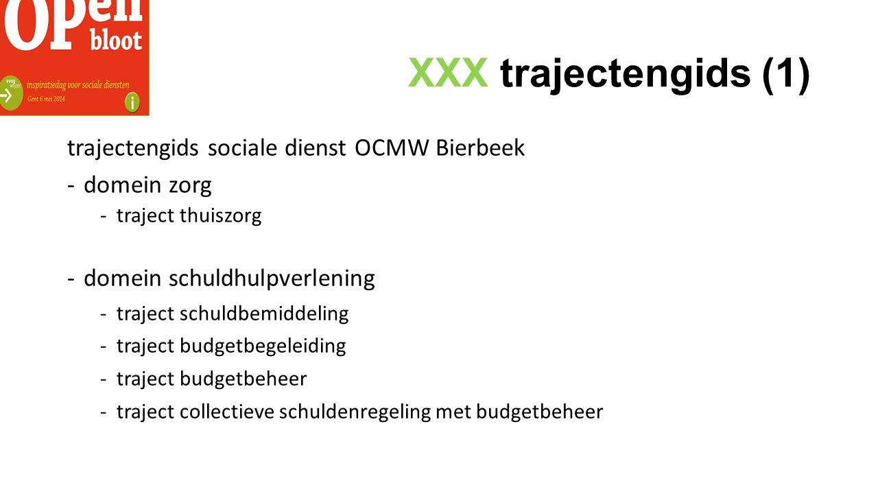 XXX trajectengids (1) trajectengids sociale dienst OCMW Bierbeek -domein zorg -traject thuiszorg -domein schuldhulpverlening -traject schuldbemiddeling -traject budgetbegeleiding -traject budgetbeheer -traject collectieve schuldenregeling met budgetbeheer