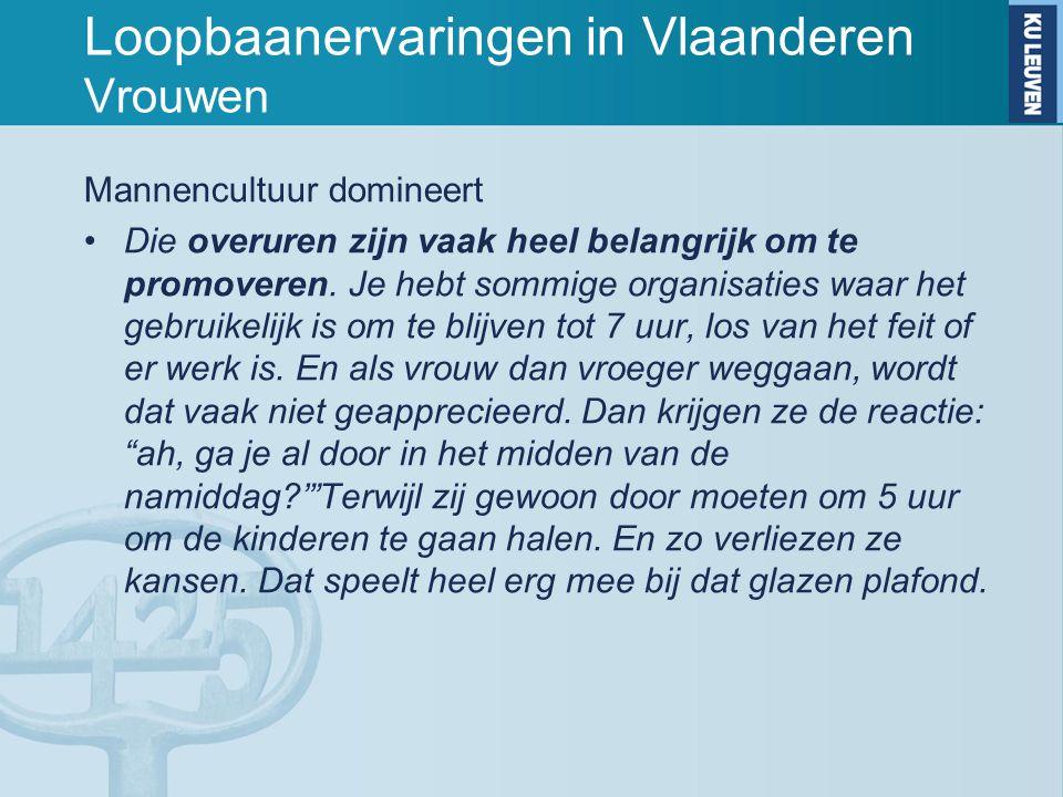 Loopbaanervaringen in Vlaanderen Vrouwen Mannencultuur domineert Die overuren zijn vaak heel belangrijk om te promoveren. Je hebt sommige organisaties