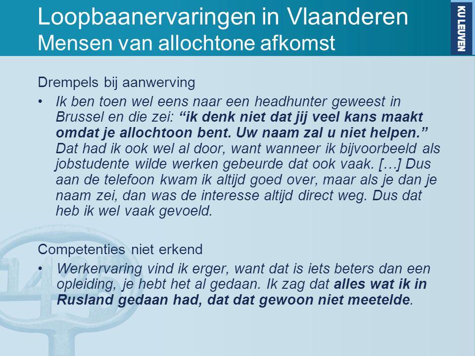 Loopbaanervaringen in Vlaanderen Mensen van allochtone afkomst Drempels bij aanwerving Ik ben toen wel eens naar een headhunter geweest in Brussel en