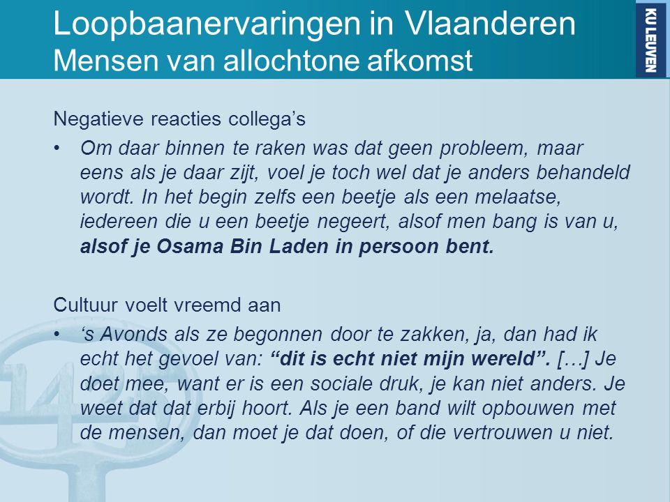 Loopbaanervaringen in Vlaanderen Mensen van allochtone afkomst Negatieve reacties collega's Om daar binnen te raken was dat geen probleem, maar eens a
