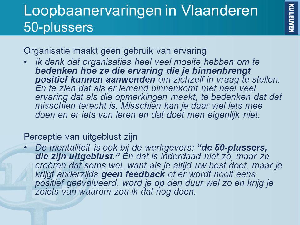 Loopbaanervaringen in Vlaanderen 50-plussers Organisatie maakt geen gebruik van ervaring Ik denk dat organisaties heel veel moeite hebben om te bedenk