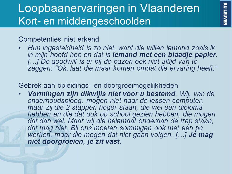 Loopbaanervaringen in Vlaanderen Kort- en middengeschoolden Competenties niet erkend Hun ingesteldheid is zo niet, want die willen iemand zoals ik in