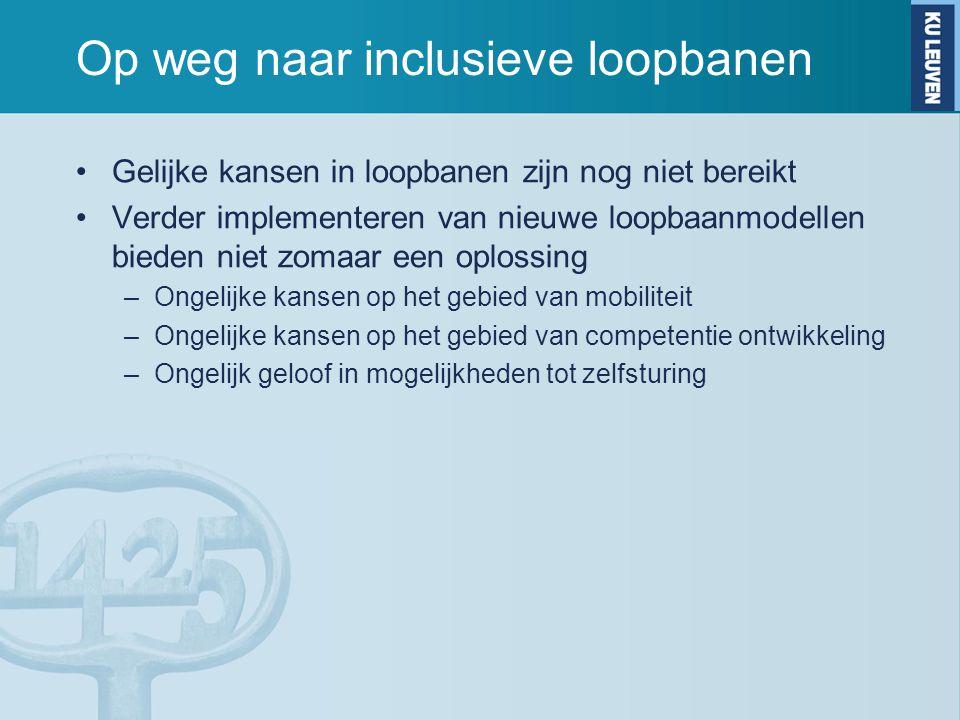 Op weg naar inclusieve loopbanen Gelijke kansen in loopbanen zijn nog niet bereikt Verder implementeren van nieuwe loopbaanmodellen bieden niet zomaar