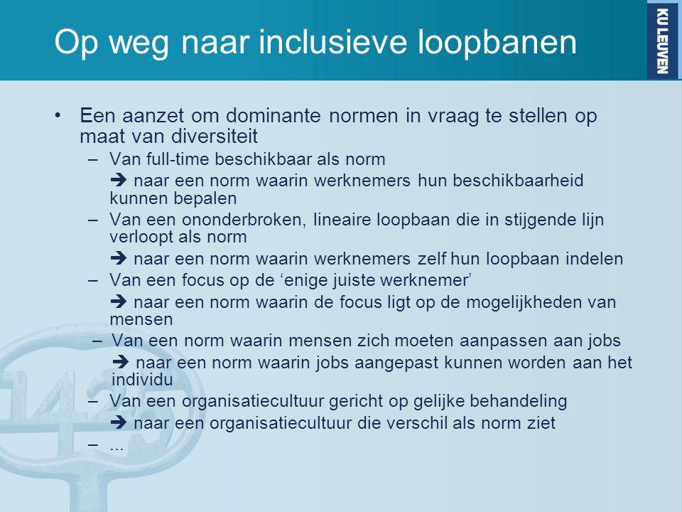 Op weg naar inclusieve loopbanen Een aanzet om dominante normen in vraag te stellen op maat van diversiteit –Van full-time beschikbaar als norm  naar